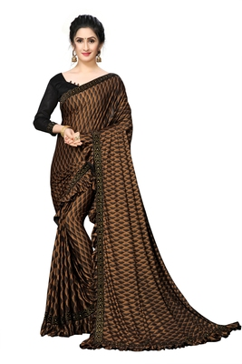 Orange Plain Lycra Designer Saree With Blouse