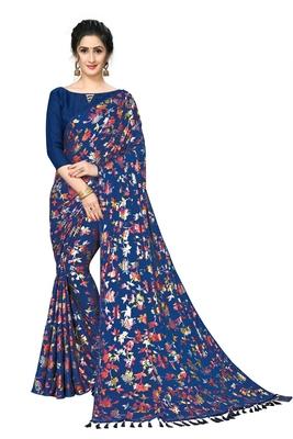 blue Plain Lycra Designer Saree With Blouse