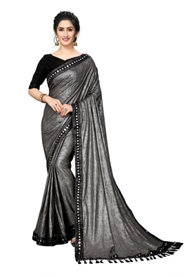 Grey Plain Lycra Designer Saree With Blouse