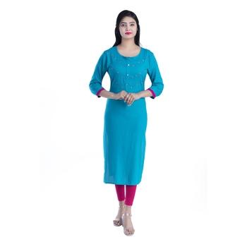 Blue hand woven rayon kurtas-and-kurtis