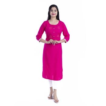 Rani-pink hand woven rayon kurtas-and-kurtis