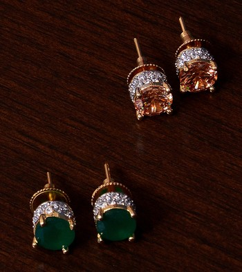 Emerald and Champagne Stone Embellished American Diamond Stud 216ED307