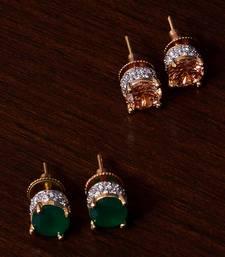 Emerald and Champagne Stone Embellished American Diamond Stud 216ED307