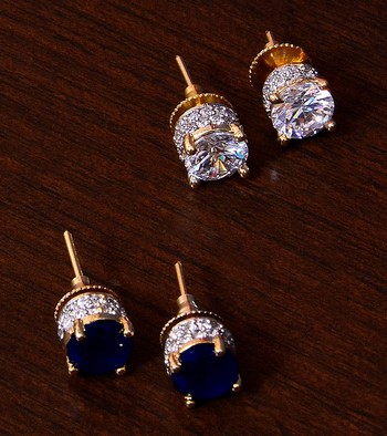 Sapphire and CZ Embellished American Diamond Stud 216ED308