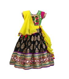 Black green  embroidered cotton stitched lehenga with  multi colour foil work