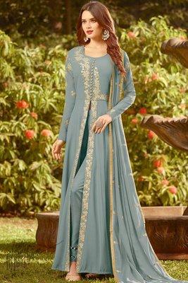 Grey Georgette Wedding Wear Pakistani Semi Suits