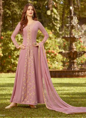Pink Georgette Wedding Wear Abaya Style Anarkali Semi Suit