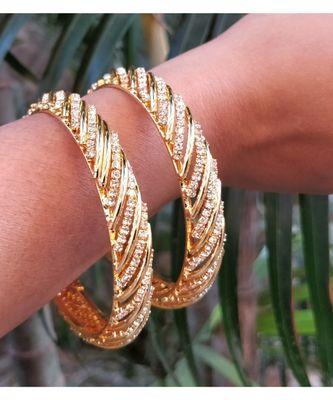 Studded Diamond Gold Plated Bangles Set Of 2