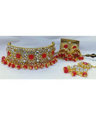 Ethnic Indian Bollywood Red Kundan Pearl Choker Jewelry Set