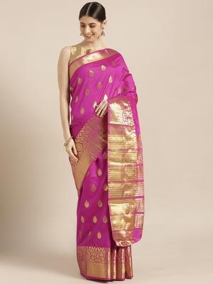 Kimisha Women's Magenta Color Silk Blend Kanjivaram Saree