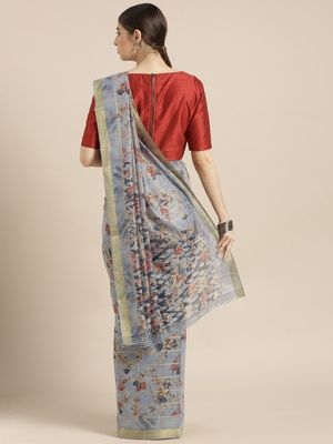 Grey printed blended cotton saree with blouse