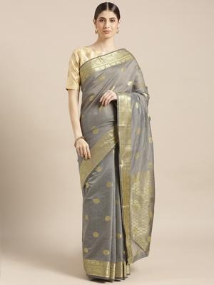 Grey woven silk blend saree with blouse