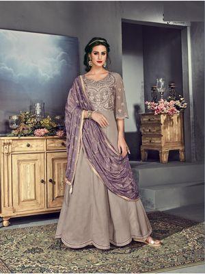 Light purple multi resham work silk salwar