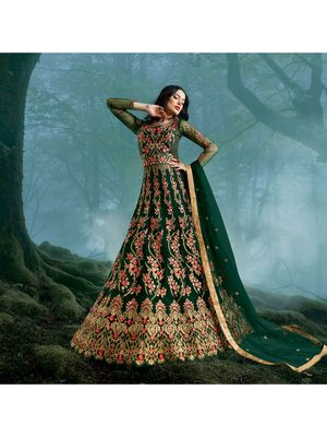 Dark green multi resham work net salwar