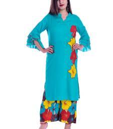 turquoise embroidered Rayon Kurti with palazzo set