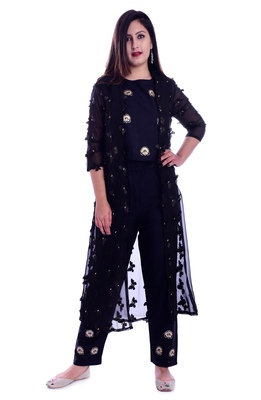 Black embroidered georgette Kurti with pant set