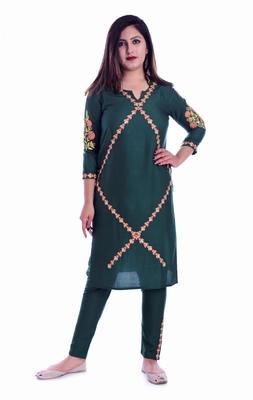 Green embroidered Rayon Kurti with pant set