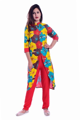 multicolor embroidered Rayon Kurti with pant set