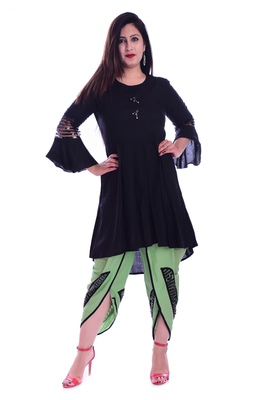 Black embroidered Rayon womens Kurta and Dhoti Pant Set