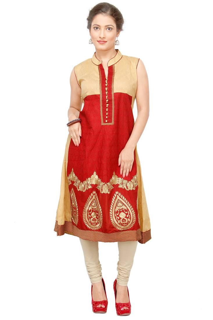 Buy Red Embroidered Cotton Kurtasandkurtis Online