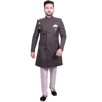 Black plain raw silk sherwani
