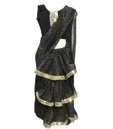 Black Self Designed Mixed Blended With Velvet Blouse Stitched Pre Stitched Saree.Stitched
