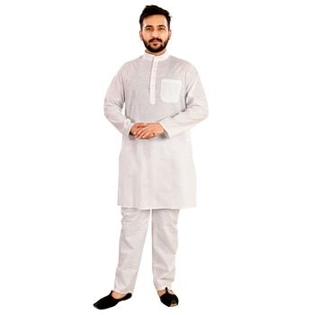 White plain raw silk kurta-pajama