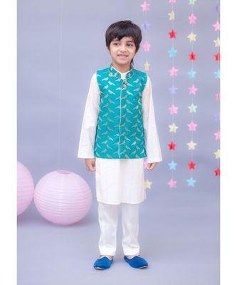 Rama Green Brocade Nehru Jacket Set