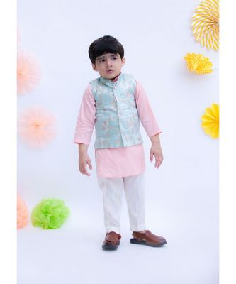 Pastel Blue Chanderi Brocade Nehru Jacket Set