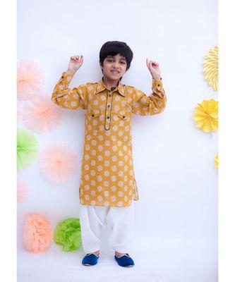 Musterd Yellow Printed Kurta with Salwar