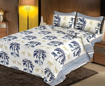 ridan cotton multicolour double bed  sheets with pillow covers