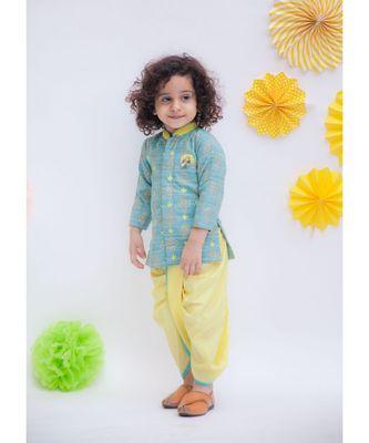 Khadi Printed Kurta with Yellow Dhoti