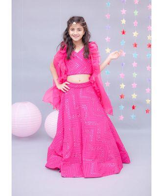 Hot Pink Embroidery Choli with Lehenga & Cape