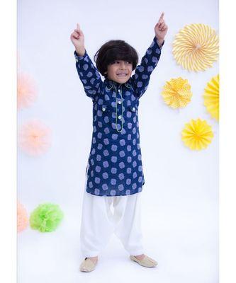 Blue Prined Kurta with Salwar