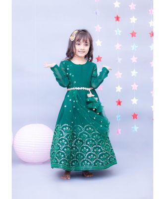 Bottle Green Embroidery Anarkali