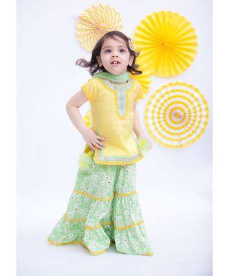 Yellow Kurti with Green Printed Sharara