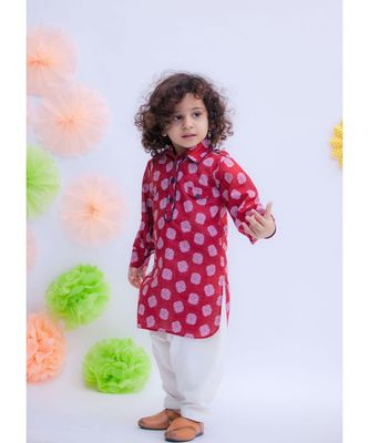 Maroon Prined Kurta with Salwar