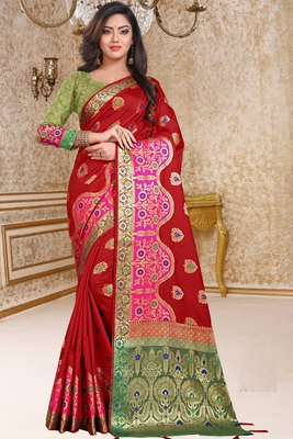 red woven art_silk saree with blouse