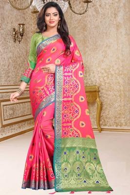 peach woven art_silk saree with blouse