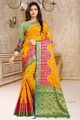 yellow woven art_silk saree with blouse