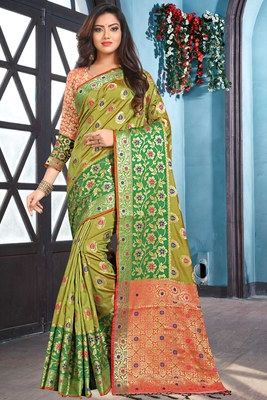 green woven art_silk saree with blouse