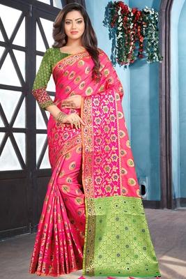 pink woven art_silk saree with blouse