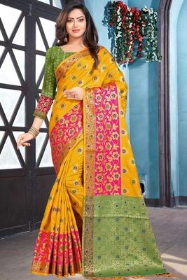 yellow woven art_silk saree with blouse