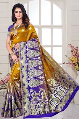 musturd woven art silk saree with blouse