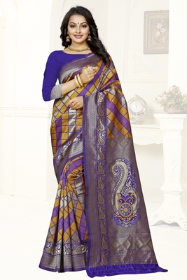 multicolor woven art silk saree with blouse