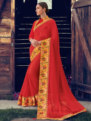 red embroidered chiffon saree with blouse