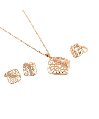 rose gold smart look cute diamond special valentine gift pendant combo