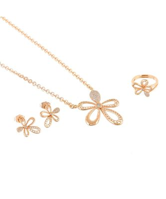 rose gold delicate flower design beautiful valentine gift pendant combo