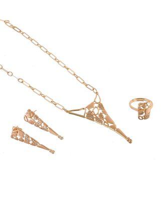 rose gold stylish fashionable beautiful diamond valentine gift pendant combo