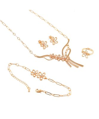 rose gold elegant stylish flower design special valentine gift necklace set